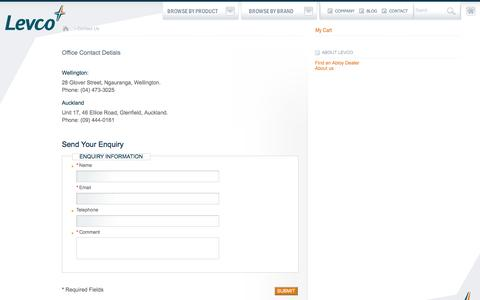 Screenshot of Contact Page levco.co.nz - LEVCO Agencies    Contact Us - captured Oct. 2, 2014