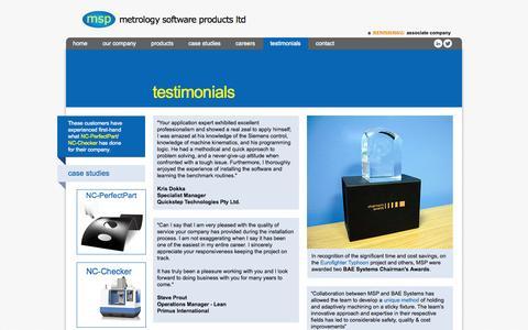 Screenshot of Testimonials Page metsoftpro.com - Testimonials - msp ltd uk - captured Oct. 27, 2014
