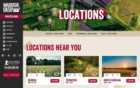 Screenshot of Locations Page warriordash.com - 2019 Warrior Dash SoCal | Warrior Dash | The 5k Obstacle Course Race Series - captured Nov. 8, 2018