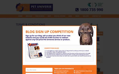 Screenshot of Terms Page petuniverse.com.au - Terms & conditions   Pet Universe - captured Oct. 27, 2014