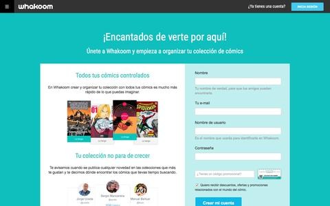 Screenshot of Signup Page whakoom.com - Crea tu cuenta en Whakoom - captured Feb. 23, 2016