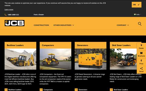 Screenshot of Products Page jcb.com - Construction Machinery Manufacturers, Equipment Machine Manufacturer - JCB India - captured June 27, 2017