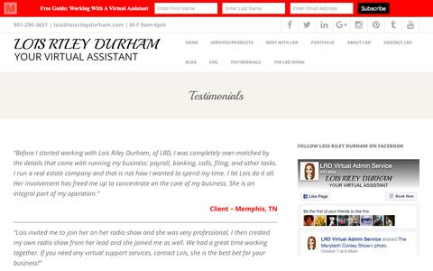 Screenshot of Testimonials Page loisrileydurham.com - Testimonials – Lois Riley Durham - captured Oct. 10, 2016