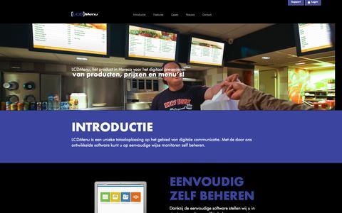 Screenshot of Home Page lcdmenu.nl - Lcdmenu | hét product in Horeca voor het digitaal presenteren van producten, prijzen en menu's! - captured Sept. 26, 2014