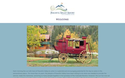 Screenshot of Home Page peacefulvalley.com - Peaceful Valley Resort and Conference Center - captured Nov. 10, 2018