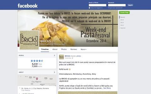 Screenshot of Facebook Page facebook.com - BRICKS - Cluj-Napoca, Romania - International Restaurant | Facebook - captured Oct. 23, 2014