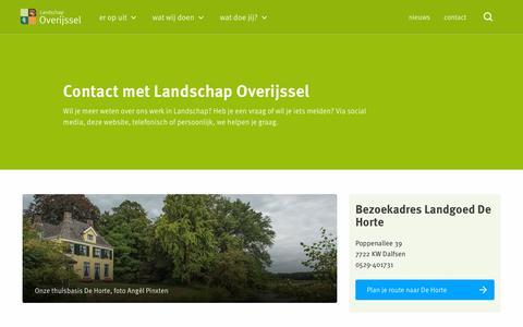 Screenshot of Contact Page landschapoverijssel.nl - Contact met Landschap Overijssel - captured Oct. 18, 2018