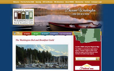 Screenshot of Home Page wbbg.com - Unique Inns | The Washington Bed and Breakfast Guild - captured Sept. 6, 2015