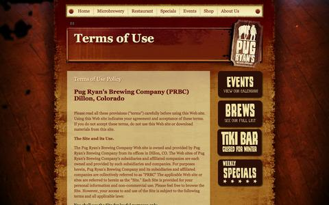 Screenshot of Terms Page pugryans.com - Pug Ryan's Steakhouse & Brewery :: Terms of Use - captured Oct. 3, 2014