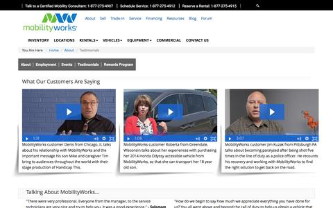 Screenshot of Testimonials Page mobilityworks.com - Testimonials | MobilityWorks - captured April 28, 2017