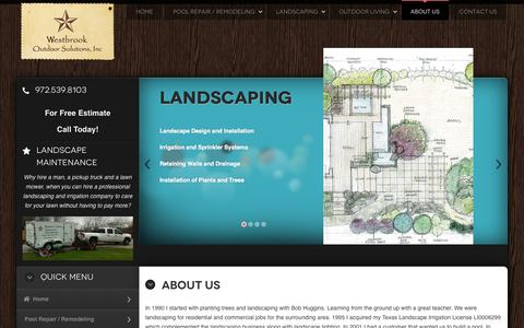 Screenshot of About Page westbrookoutdoorsolutions.com - About Westbrook Outdoor Solutions - captured Oct. 26, 2014