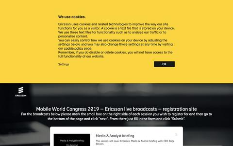 Screenshot of Landing Page ericsson.com - Mobile World Congress 2019 – Ericsson live broadcasts – registration site - captured May 10, 2019