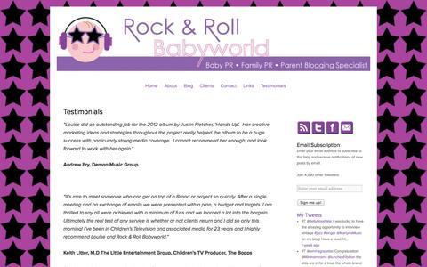 Screenshot of Testimonials Page rockandrollbabyworld.co.uk - Testimonials   Rock and Roll Baby World – PR & Marketing Agency - captured Oct. 7, 2014