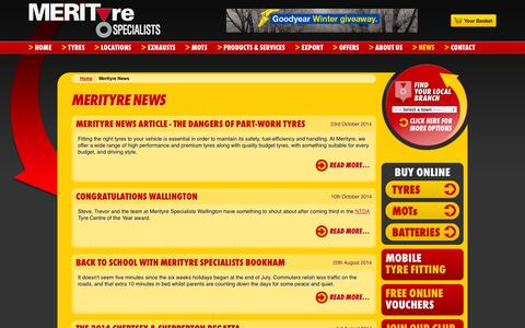 Screenshot of Press Page merityre.co.uk - Tyres News from the leading UK tyres fitters Merityre Specialists - captured Oct. 27, 2014