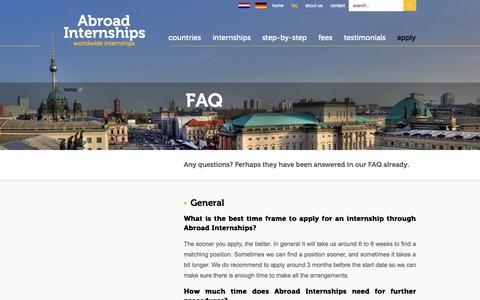 Screenshot of FAQ Page abroad-internships.com - Abroad Internships| Abroad Internships - captured Sept. 30, 2014