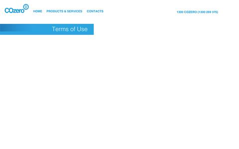 Screenshot of Terms Page cozero.com.au - COzero : Terms of Use - captured Oct. 28, 2014