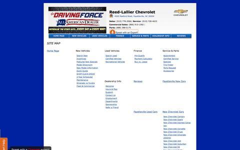 Screenshot of Site Map Page reedlallier.com - Reed-Lallier Chevrolet in Fayetteville| Sanford & Fort Bragg Chevrolet Dealer - captured Oct. 26, 2014