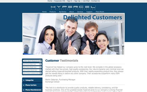 Screenshot of Testimonials Page hypercel.com captured Sept. 22, 2014