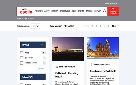 Screenshot of Case Studies Page apollo-fire.co.uk - Case Studies | Apollo Fire Detectors - captured May 24, 2019