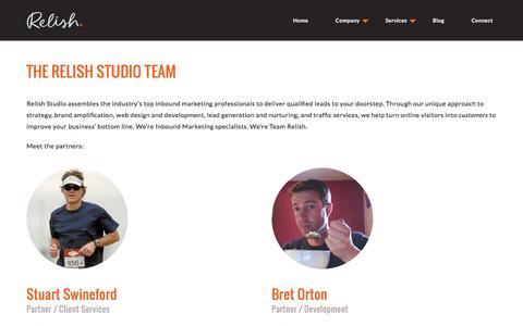 Screenshot of Team Page relishstudio.com - Inbound Marketing Specialists |Stuart Swineford, Bret Orton - captured Jan. 11, 2016