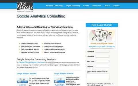 Screenshot of Landing Page blastam.com - Blast Analytics & Marketing Consulting Company - captured Sept. 21, 2016