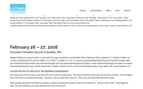 Screenshot of occ.org - The Refresh Conference   February 26 & 27, 2016 - captured Sept. 3, 2015