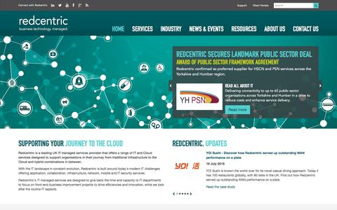 Screenshot of Home Page redcentricplc.com - Network Services | Managed IT Services Provider | Redcentric - captured July 26, 2018