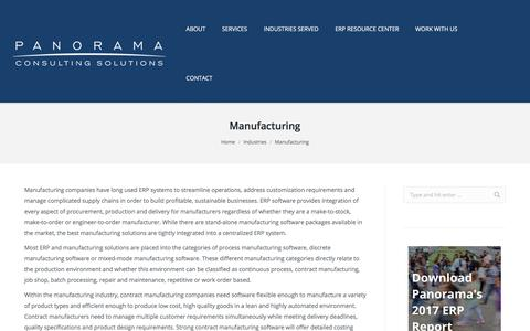 Manufacturing ERP - Panorama Consulting- ERP Consulting For Manufacturers