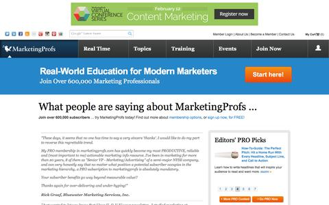 MarketingProfs : Reactions from our Readers and Reviews