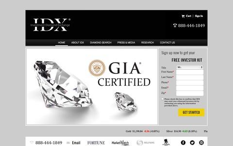 Screenshot of Home Page investmentdiamondexchange.com - Investment Diamond Exchange (IDX) - captured Oct. 6, 2014