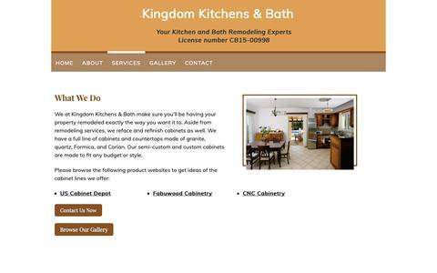 Screenshot of Services Page kingdom-kitchens.com - Services - Kingdom Kitchens & Bath in Fort Myers, FL - captured Oct. 15, 2018