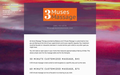 Screenshot of Services Page 3musesmassage.com - At-Home Massage Therapy — 3 Muses Massage - captured Oct. 9, 2014