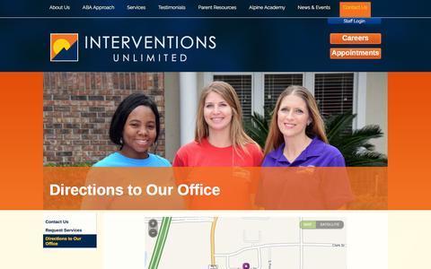 Screenshot of Maps & Directions Page interventionsunlimited.com - Set up ABA therapy for your child, make an appointment, find an ABA therapists, find a behavior analyst, find an ABA provider, find a BCBA  in Central Florida Orlando, Oviedo, Winter Springs, Winter Park, Maitland, Longwood, Casselberry, Lake Mary, S - captured Feb. 11, 2016
