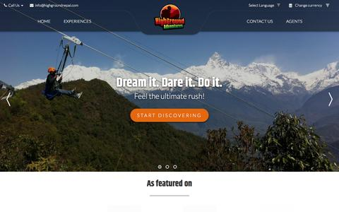 Screenshot of Home Page highgroundnepal.com - HighGround Adventures | ZipLine and Bungy in Pokhara, Nepal - captured Aug. 16, 2019