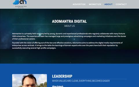 Screenshot of About Page adomantra.com - About - Adomantra | Cross Screen Video & Rich Media Ad Network - captured Feb. 5, 2016
