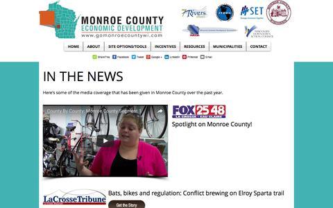 Screenshot of Press Page gomonroecountywi.com - Monroe County Data - captured Jan. 23, 2017