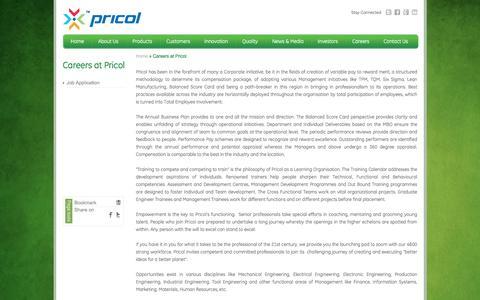 Screenshot of Jobs Page pricol.com - Careers at Pricol - Pricol Ltd - captured Oct. 15, 2016