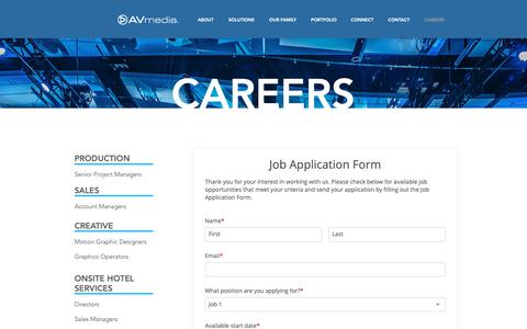Screenshot of Jobs Page avmediainc.com - Contact - captured Nov. 6, 2018