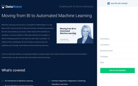 Screenshot of Landing Page datarobot.com - Moving from BI to Automated Machine Learning - DataRobot - captured Sept. 19, 2018