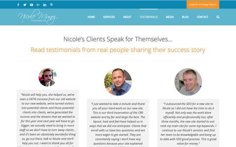 Screenshot of Testimonials Page nicolemunoz.com - Nicole Munoz | Client Testimonials - captured Oct. 18, 2018