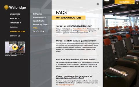 Screenshot of FAQ Page walbridge.com - Walbridge | FAQs - captured Oct. 8, 2014
