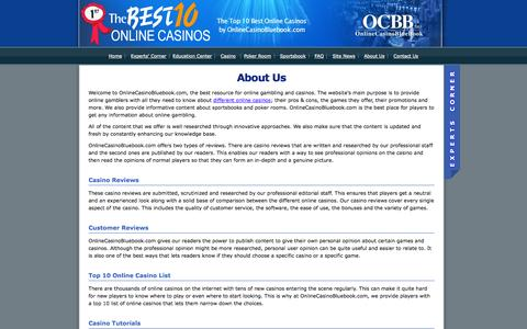 Screenshot of About Page onlinecasinobluebook.com - About OnlineCasinoBluebook.com - Established 2003 - captured Oct. 26, 2014