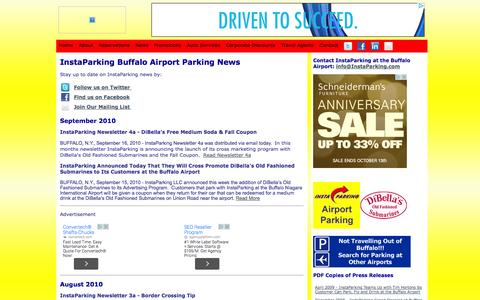 Screenshot of Press Page instaparking.com - News - InstaParking Buffalo Airport Parking (BUF) - captured Oct. 6, 2014