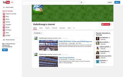 Screenshot of YouTube Page youtube.com - ViaSolEnergy's channel  - YouTube - captured Nov. 3, 2014