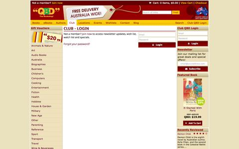 Screenshot of Login Page qbd.com.au - Club - Login - QBD The Bookshop - captured Oct. 31, 2014
