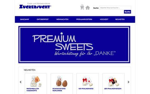 """Screenshot of Home Page zuckersucht.de - Premium Sweets - Wertschätzung für Ihr """"Danke"""" - captured June 5, 2016"""