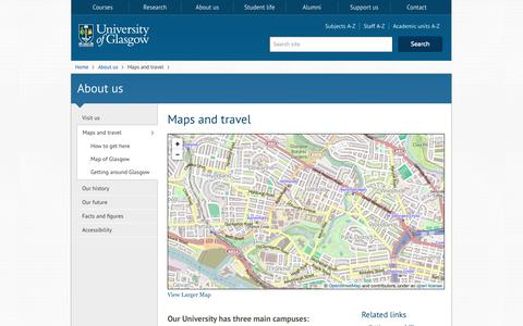 Screenshot of Maps & Directions Page gla.ac.uk - University of Glasgow :: About us :: Maps and travel - captured Sept. 18, 2014