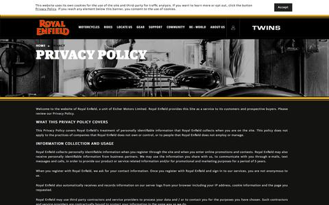 Screenshot of Privacy Page royalenfield.com - Privacy - Royal Enfield - captured July 22, 2018