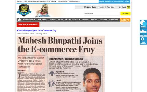 Screenshot of Press Page sports365.in - Sports365 in Media - captured Sept. 22, 2014