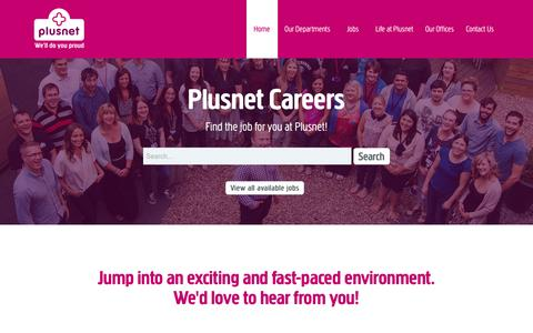Screenshot of Jobs Page plus.net - Plusnet Careers - captured Feb. 12, 2016